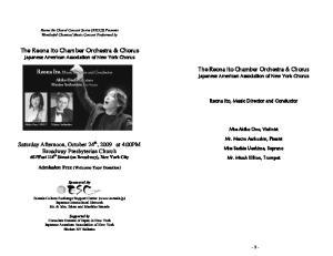The Reona Ito Chamber Orchestra & Chorus Japanese American Association of New York Chorus
