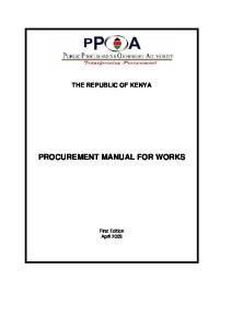 THE REPUBLIC OF KENYA PROCUREMENT MANUAL FOR WORKS