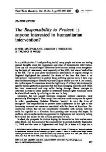 The Responsibility to Protect: is anyone interested in humanitarian intervention?