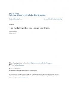 The Restatement of the Law of Contracts