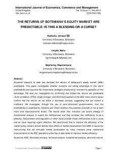 THE RETURNS OF BOTSWANA S EQUITY MARKET ARE PREDICTABLE: IS THIS A BLESSING OR A CURSE?