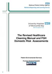 The Revised Healthcare Cleaning Manual and FGH Domestic Risk Assessments