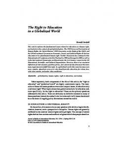 The Right to Education in a Globalized World