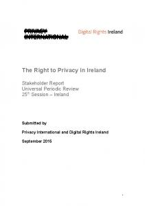 The Right to Privacy in Ireland