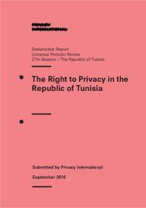 The Right to Privacy in the Republic of Tunisia