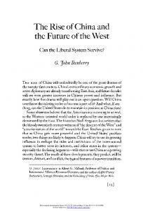 The Rise of China and. the Future of the West