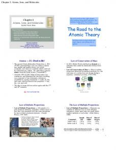 The Road to the Atomic Theory