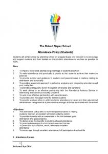 The Robert Napier School. Attendance Policy (Students)