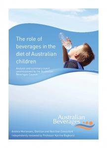 The role of beverages in the diet of Australian children