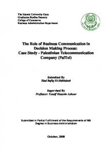 The Role of Business Communication in Decision Making Process: Case Study - Palestinian Telecommunication Company (PalTel)