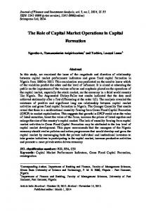 The Role of Capital Market Operations in Capital Formation