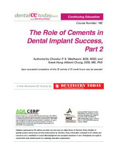The Role of Cements in Dental Implant Success, Part 2