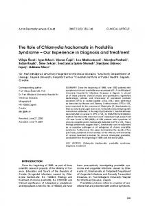 The Role of Chlamydia trachomatis in Prostatitis Syndrome Our Experience in Diagnosis and Treatment