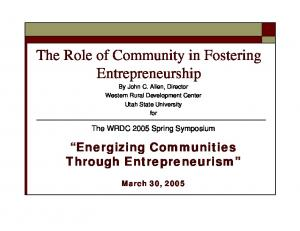 The Role of Community in Fostering Entrepreneurship