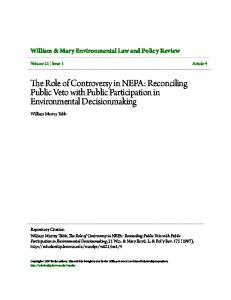 The Role of Controversy in NEPA: Reconciling Public Veto with Public Participation in Environmental Decisionmaking