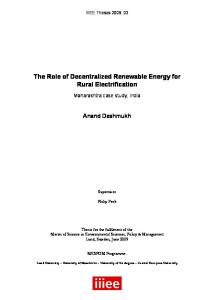 The Role of Decentralized Renewable Energy for Rural Electrification
