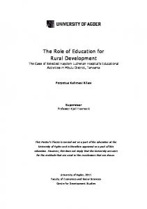 The Role of Education for Rural Development