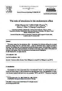 The role of emotions in the endowment evect