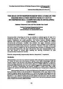 THE ROLE OF ENTREPRENEURSHIP EDUCATORS ON THE HIGHER EDUCATION INSTITUTIONS STUDENTS ENTREPRENEURIAL COMPETENCIES IN DEVELOPING COUNTRIES