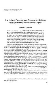 The Role of Exercise as a Therapy for Children With Duchenne Muscular Dystrophy
