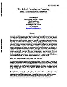 The Role of Factoring for Financing Small and Medium Enterprises