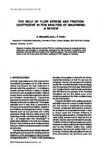 THE ROLE OF FLOW STRESS AND FRICTION COEFFICIENT IN FEM ANALYSIS OF MACHINING: A REVIEW