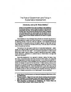 The Role of Government and Policy in Sustainable Development