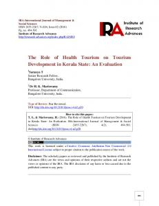 The Role of Health Tourism on Tourism Development in Kerala State: An Evaluation