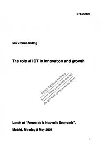 The role of ICT in innovation and growth