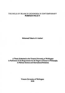 THE ROLE OF ISLAM IN INDONESIA S CONTEMPORARY FOREIGN POLICY