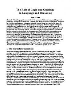 The Role of Logic and Ontology In Language and Reasoning