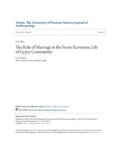 The Role of Marriage in the Socio-Economic Life of Gypsy Community