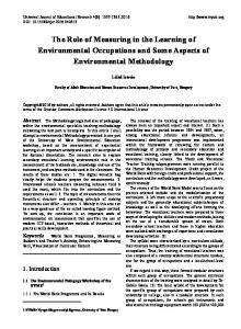 The Role of Measuring in the Learning of Environmental Occupations and Some Aspects of Environmental Methodology