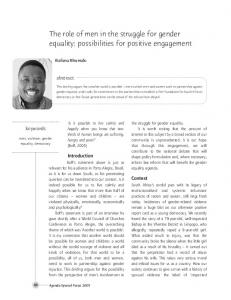 The role of men in the struggle for gender equality: possibilities for positive engagement
