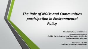 The Role of NGOs and Communities participation in Environmental Policy