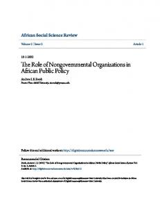 The Role of Nongovernmental Organizations in African Public Policy