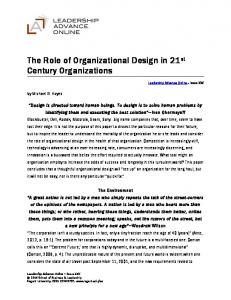 The Role of Organizational Design in 21 st Century Organizations