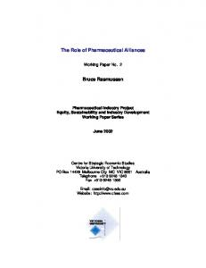 The Role of Pharmaceutical Alliances. Bruce Rasmussen