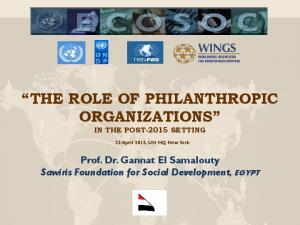 THE ROLE OF PHILANTHROPIC ORGANIZATIONS IN THE POST-2015 SETTING