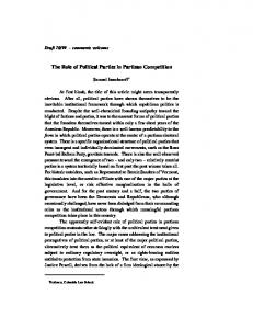 The Role of Political Parties in Partisan Competition
