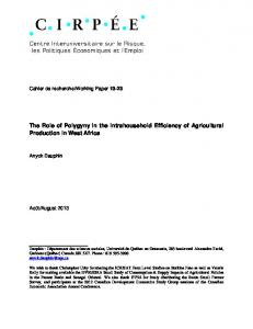 The Role of Polygyny in the Intrahousehold Efficiency of Agricultural Production in West Africa
