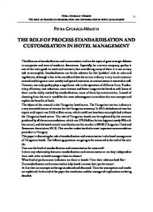 THE ROLE OF PROCESS STANDARDISATION AND CUSTOMISATION IN HOTEL MANAGEMENT
