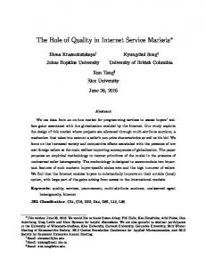 The Role of Quality in Internet Service Markets