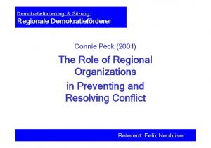 The Role of Regional Organizations in Preventing and Resolving Conflict