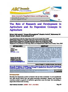 The Role of Research and Development in Agriculture and Its Dependent Concepts in Agriculture