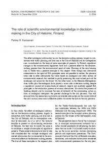 The role of scientific environmental knowledge in decisionmaking in the City of Helsinki, Finland