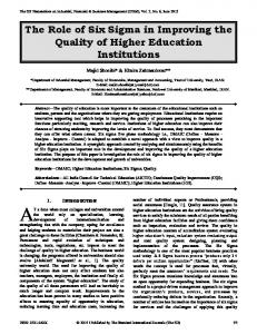The Role of Six Sigma in Improving the Quality of Higher Education Institutions