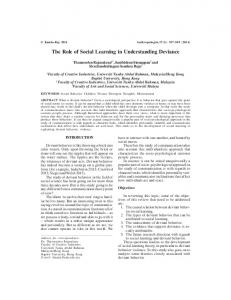 The Role of Social Learning in Understanding Deviance