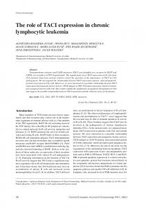 The role of TACI expression in chronic lymphocytic leukemia