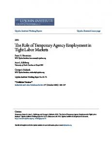 The Role of Temporary Agency Employment in Tight Labor Markets